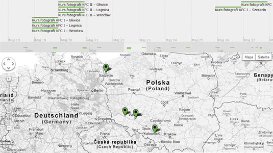 Kursy fotograficzne na osi czasu. Mapa kursów WarsztatyFotograficzne.pl